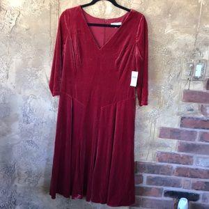 Coldwater Creek 3/4 Sleeve Velvet Dress